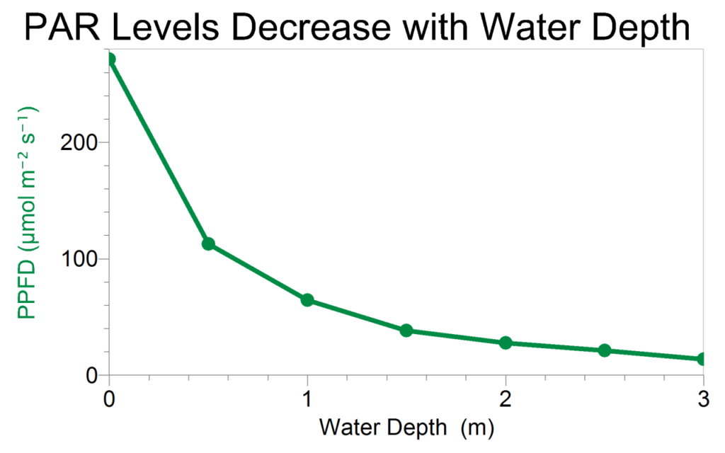 зменшення пропускання світла водою з зануренням