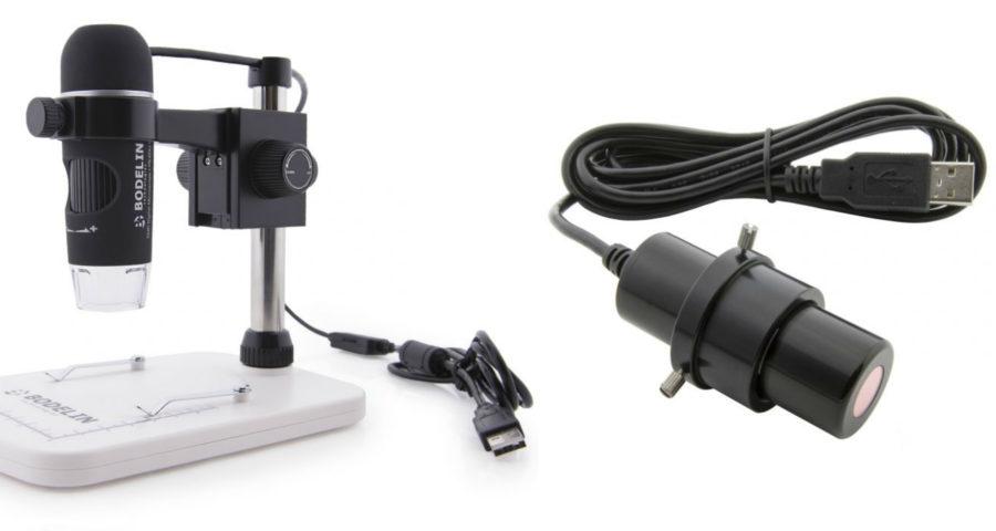 учебный микроскоп и цифровая камера