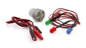 мотор с контактами и светодиодами